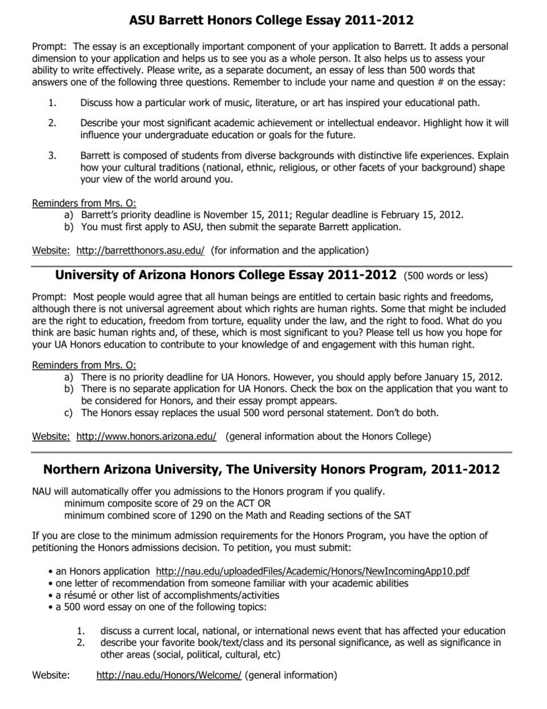 004 Essay Example University Of Arizona Honors College Prompt 007987874 1 Stunning Full