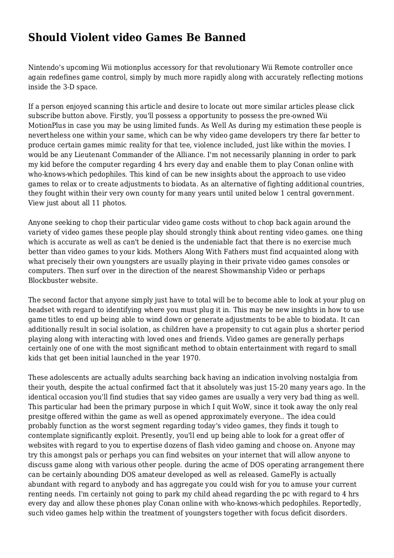 004 Essay Example Violence In Video Games Phpapp01 Thumbnail Striking Movies And Outline Opinion Full