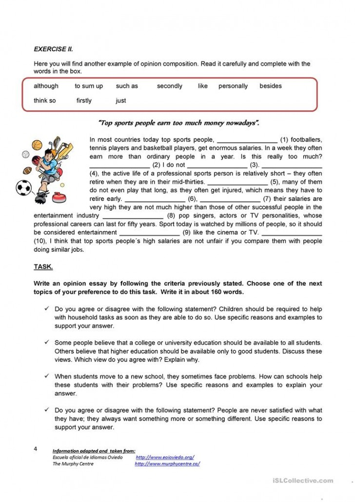 004 Essay Example Writing An Opinion Creative Tasks 80444 4 How To Unbelievable Write Conclusion On A Book Video 728
