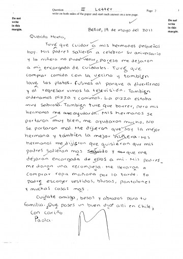 004 Essay In Spanish Csec June2011 Paper2 Sectionii Letter Pg2 Ex Unbelievable On India Language About Yourself Vacation 360