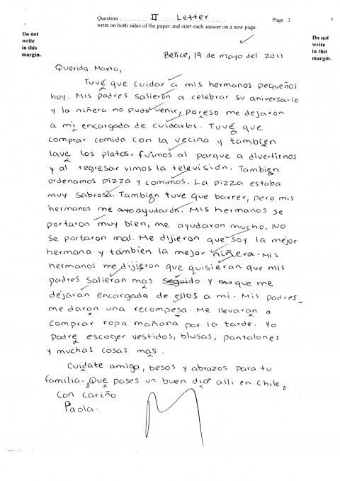 004 Essay In Spanish Csec June2011 Paper2 Sectionii Letter Pg2 Ex Unbelievable On India Language About Yourself Vacation 480