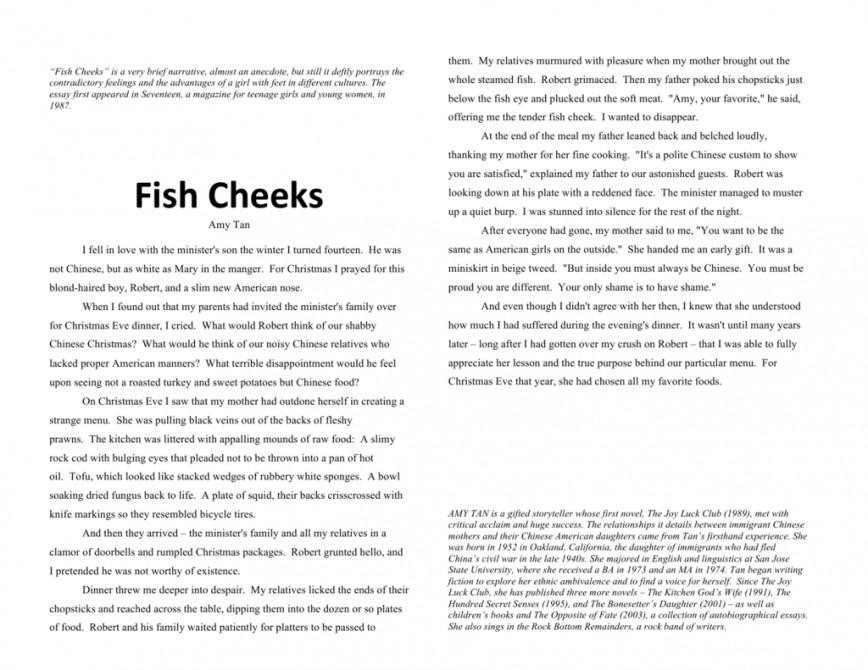 Fish cheeks essay