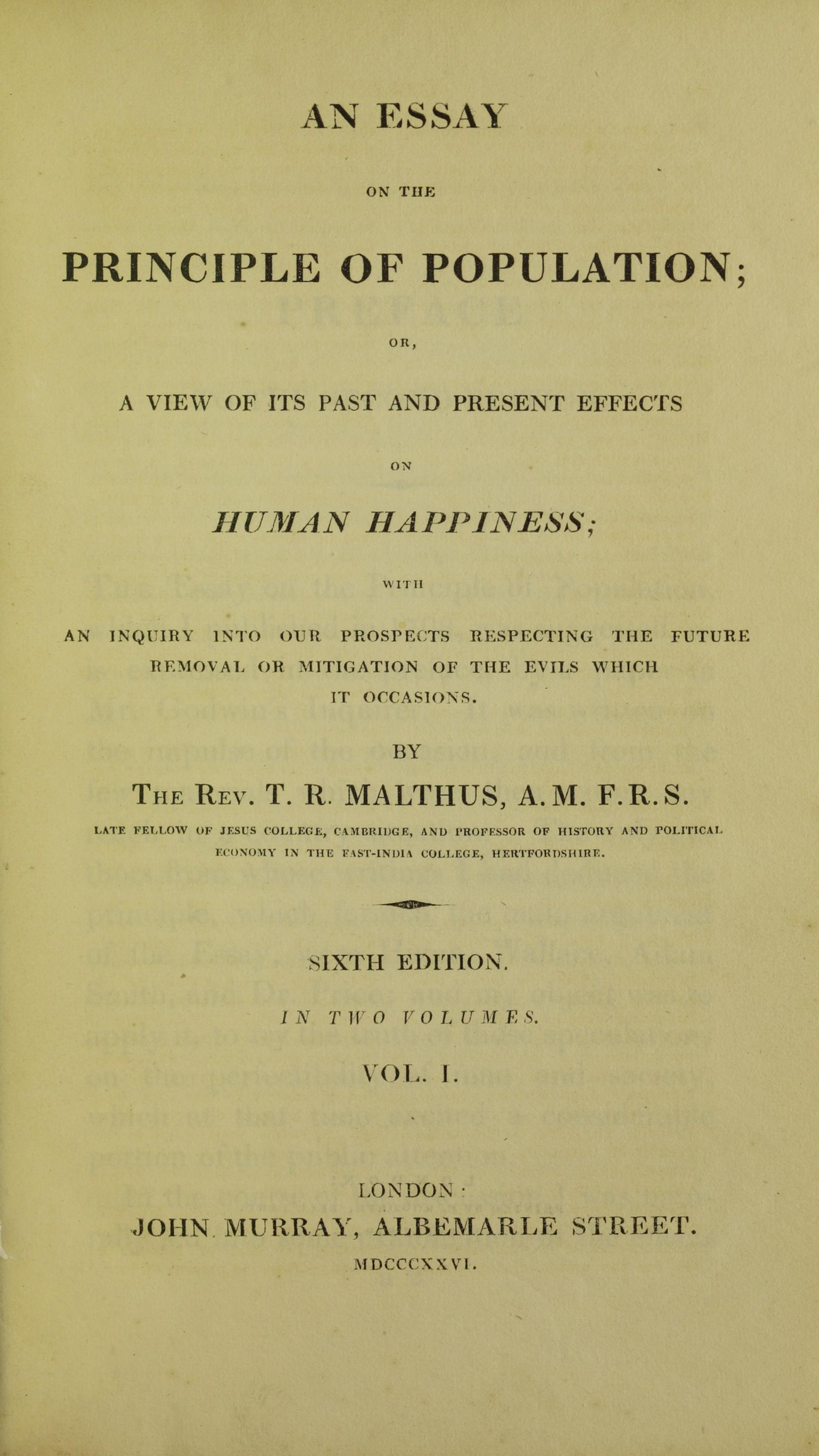 004 Essay On The Principle Of Population Example Lossy Page1 1200px Malthus  Population2c 1826 5884843 Singular Pdf By Thomas Main Idea1920