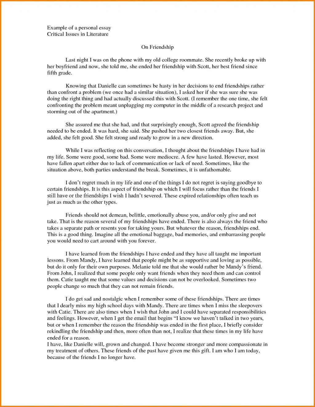 004 Essay Template Personal Narratives High School