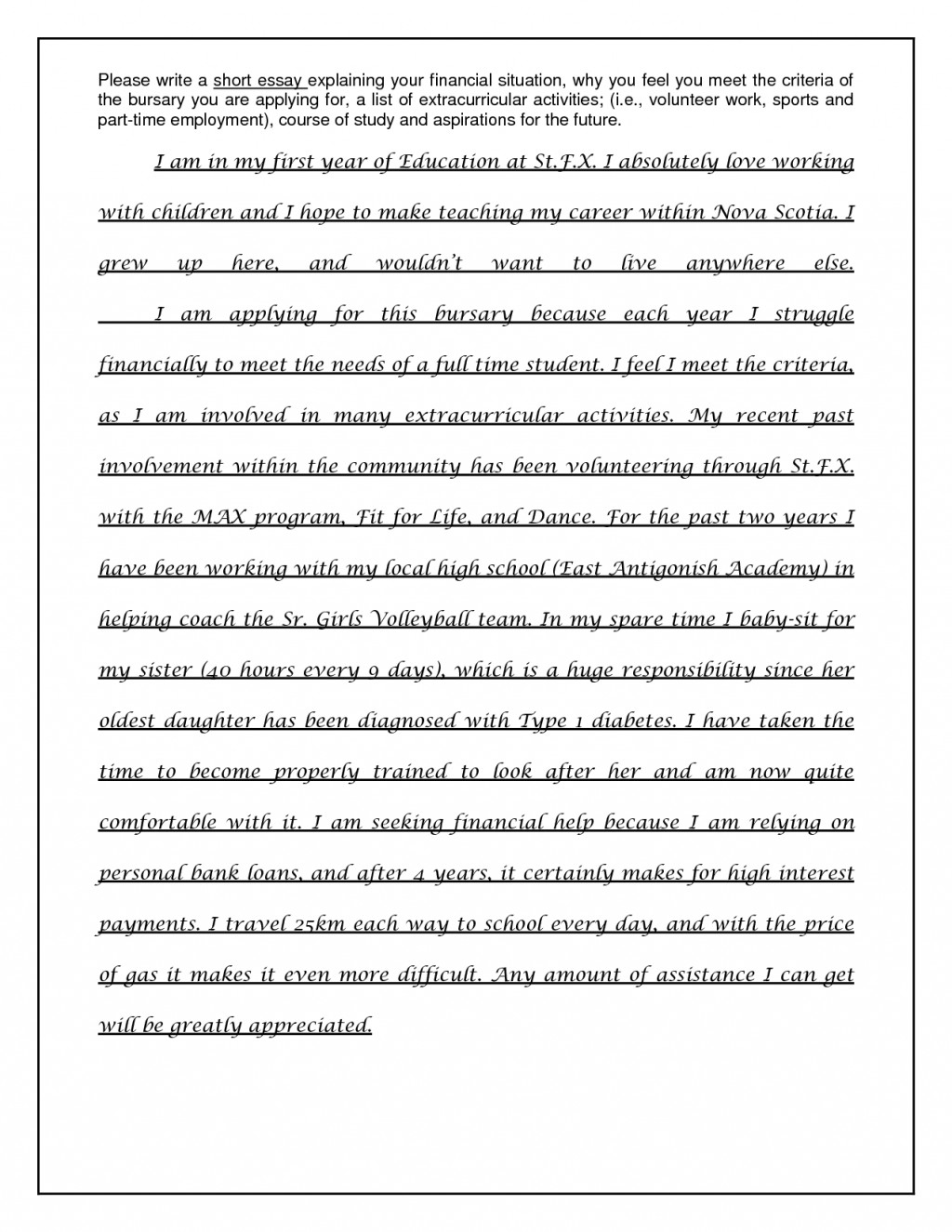 004 Examples Of Scholarship Essays On Financial Need Essay Sample Scholarships For Students How Write Essa College Based Best Large