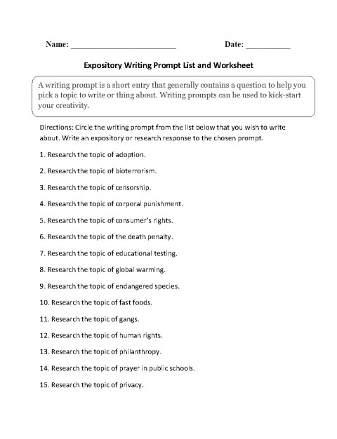 004 Expository Essay Topics Example Awesome Prompts 7th Grade Examples For College 4th 480