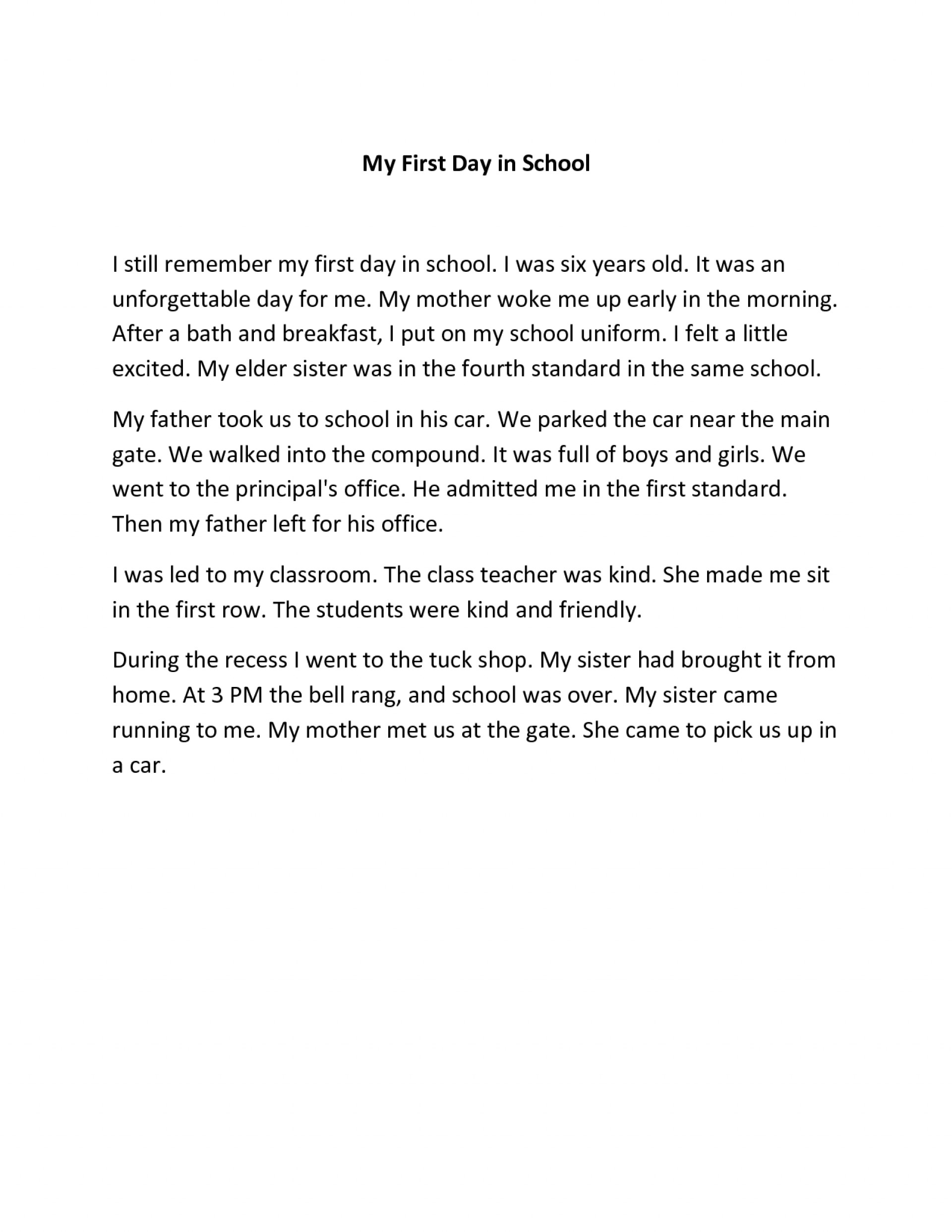 First day in school essay