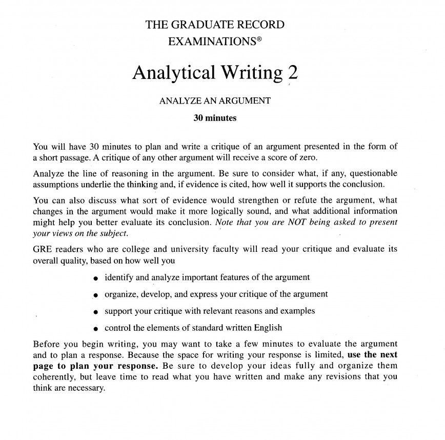 004 Gre Essay Sample Example Analytical Writing Response Task Directions For Breathtaking Answers Questions Score 6