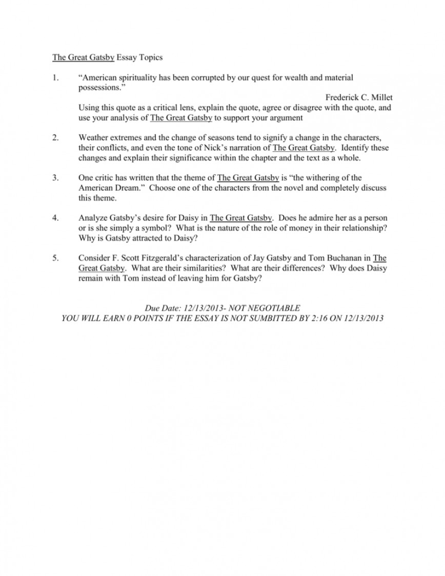 004 Great Gatsby Essay Topics 008063359 1 Staggering Questions Synthesis Prompt Persuasive