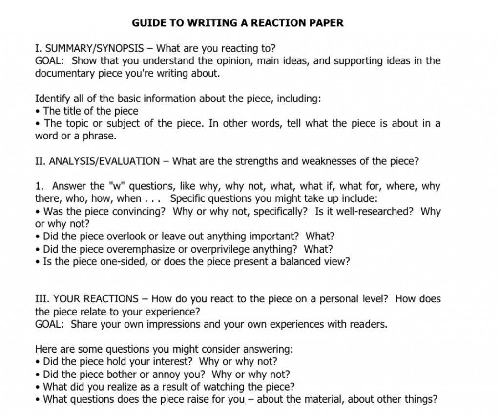 004 Guide To Write A Reaction Paper Essay Top Example Large