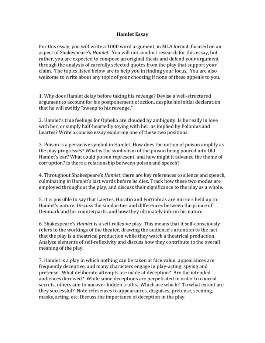 004 Hamlet Revenge Essay Example 009516755 1 Unbelievable Topics With Quotes