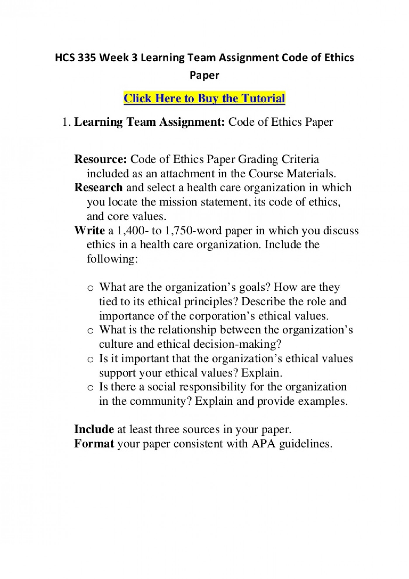 004 Hcs335week3learningteamassignmentcodeofethicspaper Phpapp01 Thumbnail Code Of Ethics Paper Essays Essay Surprising 1400