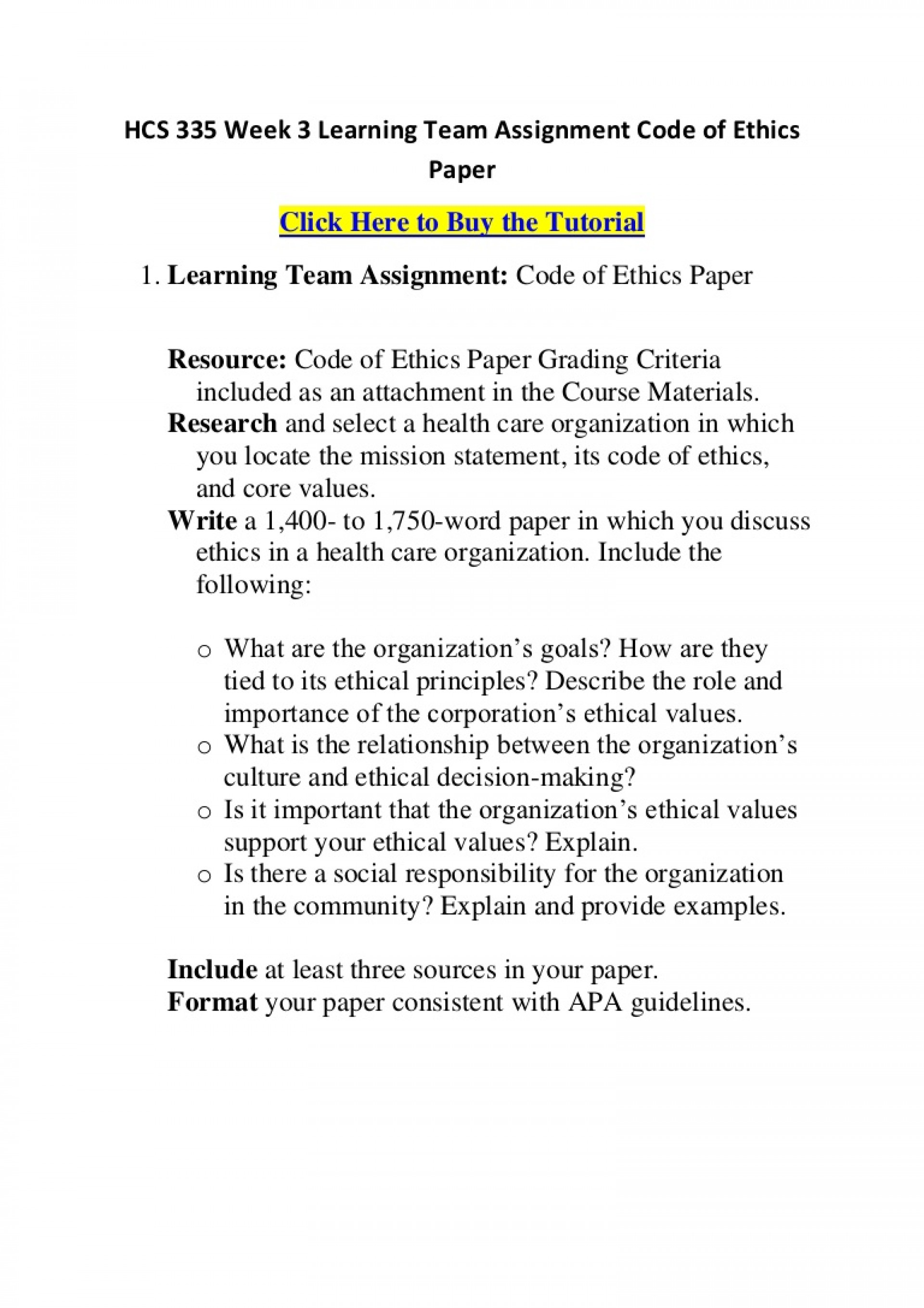 004 Hcs335week3learningteamassignmentcodeofethicspaper Phpapp01 Thumbnail Code Of Ethics Paper Essays Essay Surprising 1920