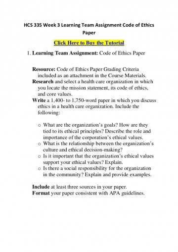 004 Hcs335week3learningteamassignmentcodeofethicspaper Phpapp01 Thumbnail Code Of Ethics Paper Essays Essay Surprising 360