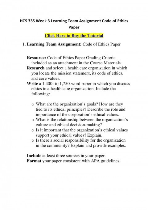 004 Hcs335week3learningteamassignmentcodeofethicspaper Phpapp01 Thumbnail Code Of Ethics Paper Essays Essay Surprising 480