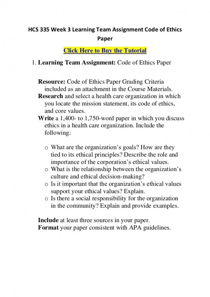004 Hcs335week3learningteamassignmentcodeofethicspaper Phpapp01 Thumbnail Code Of Ethics Paper Essays Essay Surprising 728