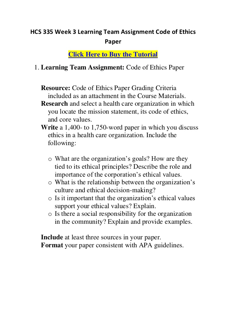 004 Hcs335week3learningteamassignmentcodeofethicspaper Phpapp01 Thumbnail Code Of Ethics Paper Essays Essay Surprising Full