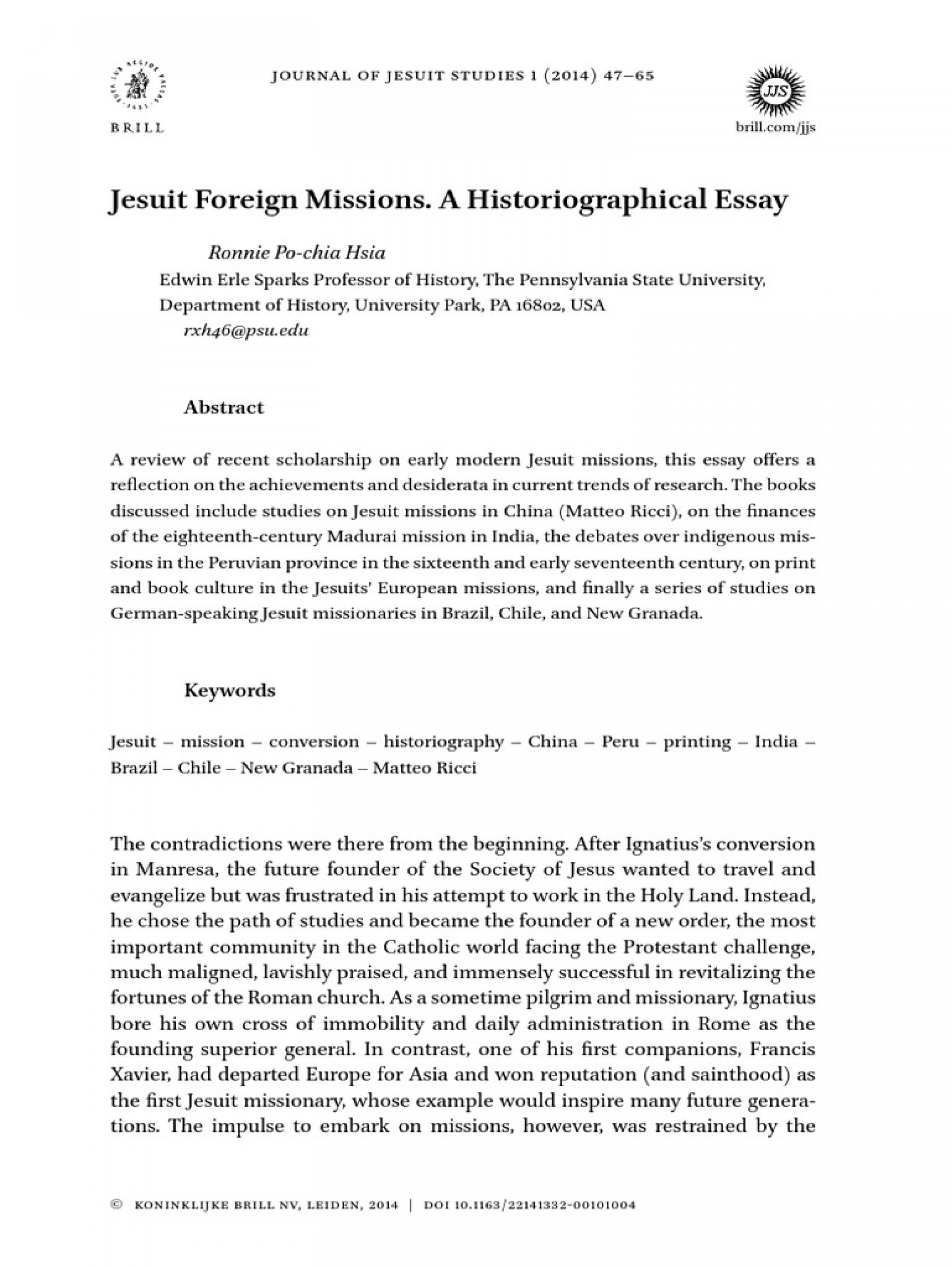 004 Historiographical Essay Example Jesuit Foreign Missions  58d38df8ee3435de0e6e4ab7 Phenomenal Historiography Sample On Slavery Topics1920