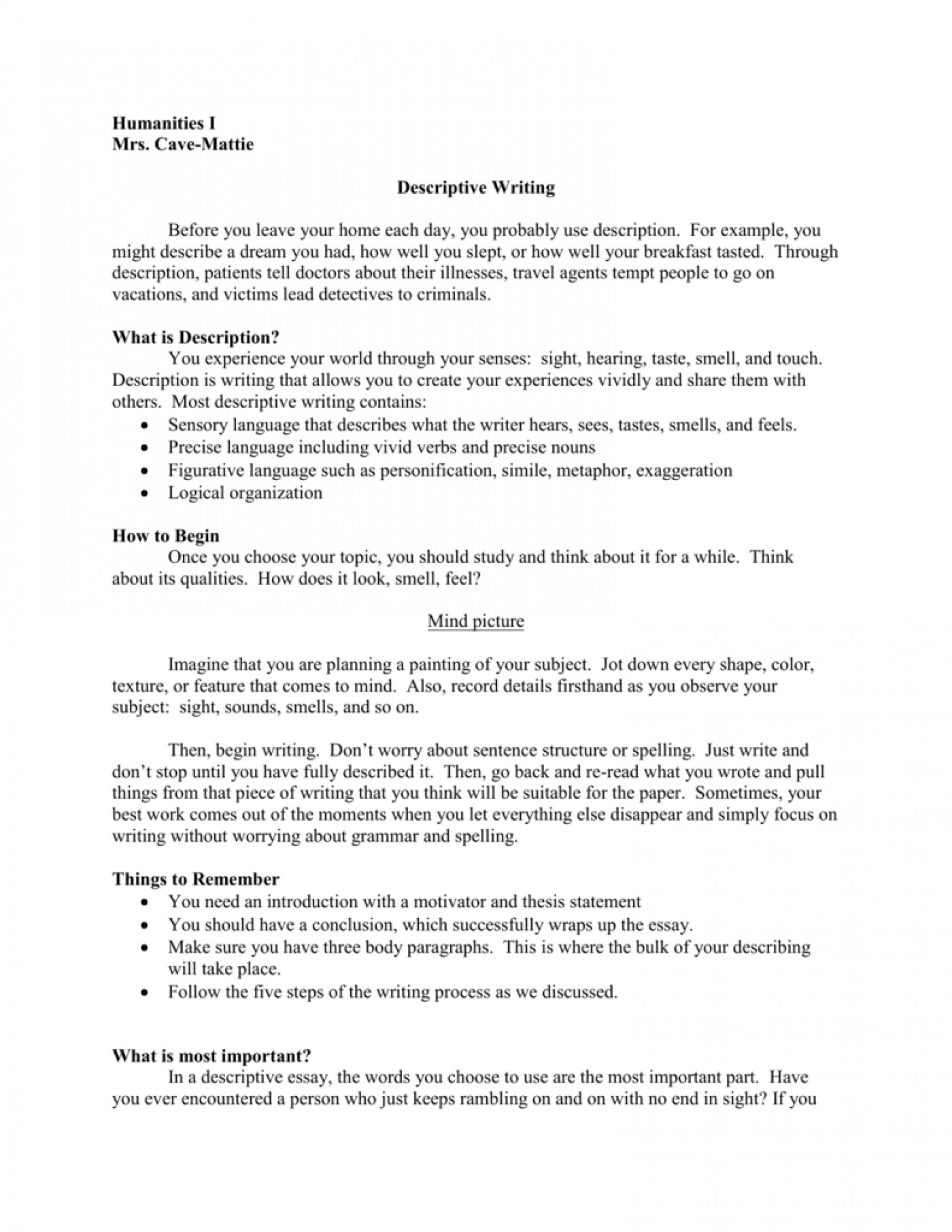 flavios home descriptive essay