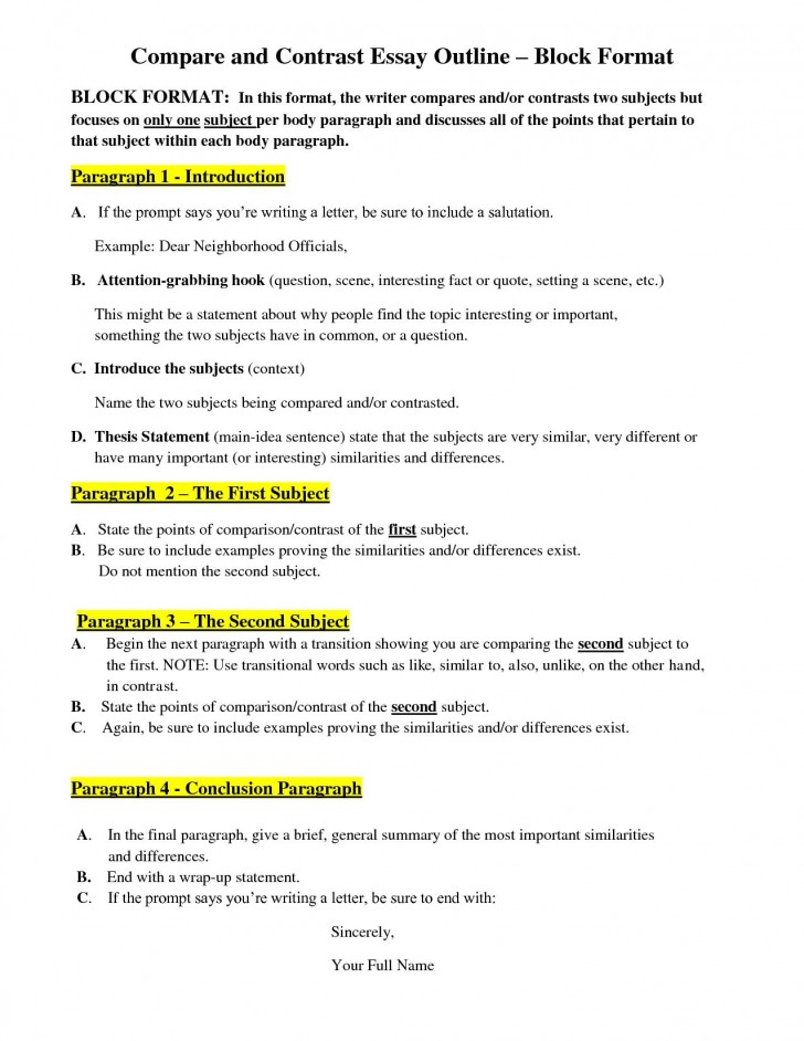 004 How To Outline Compare And Contrast Essay Example Awesome A Create An For 728