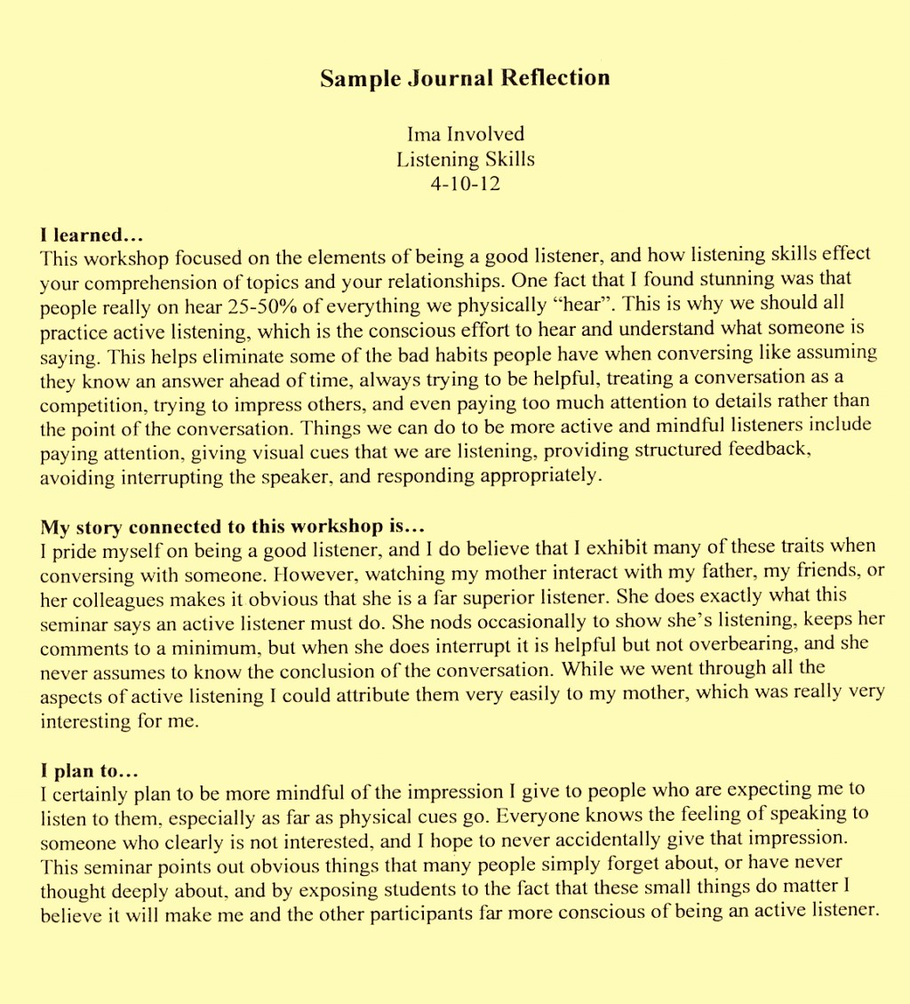 Reflection and Reflective Practice: [Essay Example], words GradesFixer