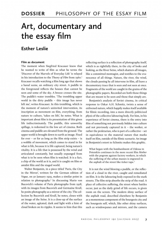 Film evaluation essay