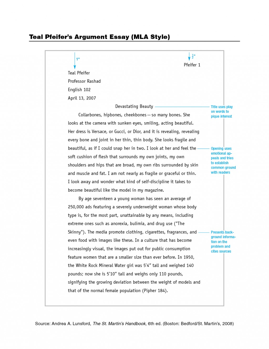 004 Mla Style Essay Example Outstanding Citation Format Sample Title Large