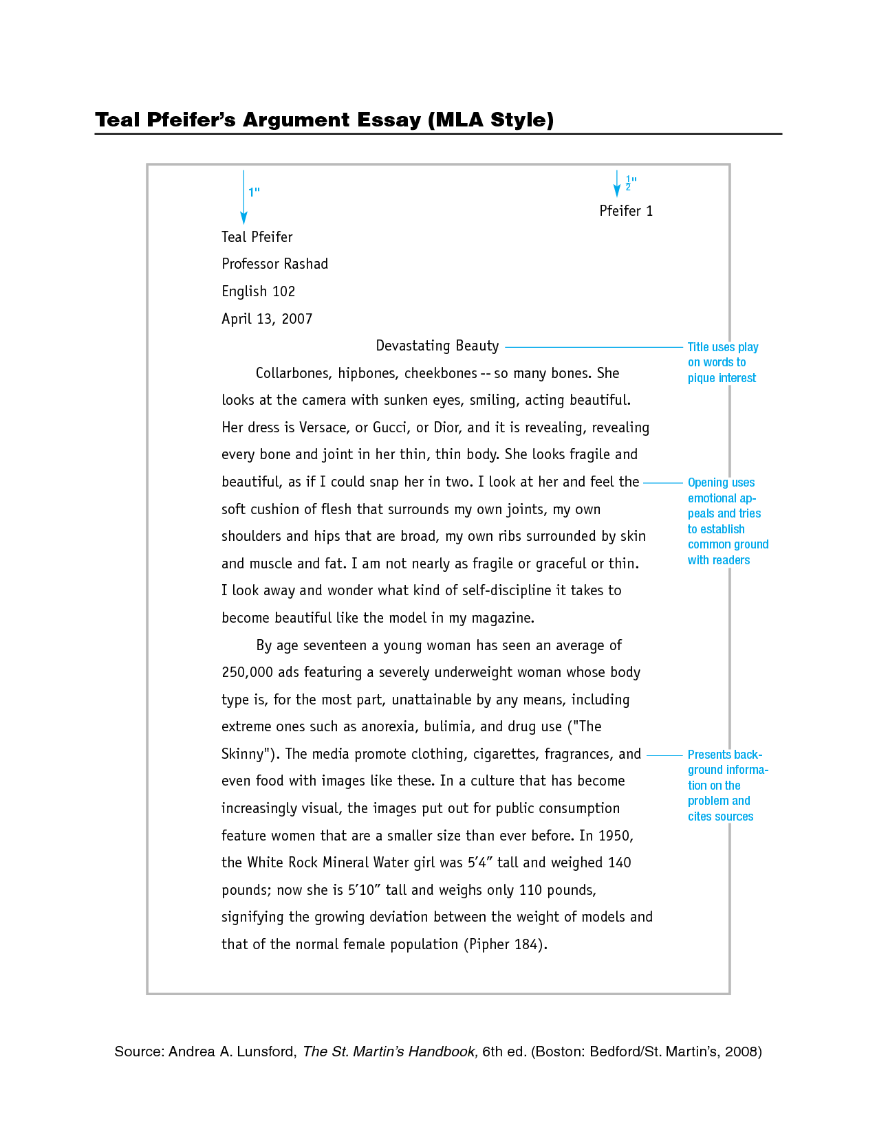 004 Mla Style Essay Example Outstanding Citation Format Sample Title Full