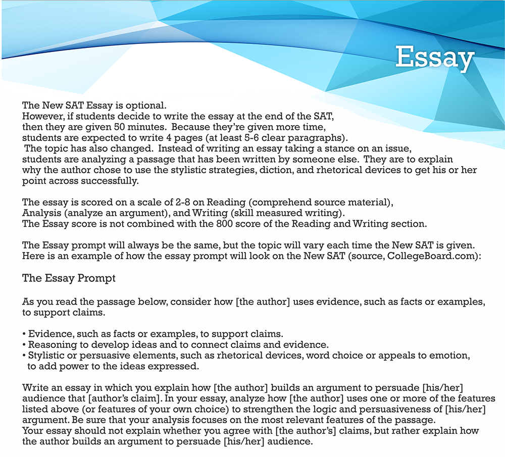 004 New Sat Essay Practice Test Courses Tips In Nj Usa Writing Sample Ons Prompts Score Format Range Percentiles Time Limit Dreaded Breakdown Full