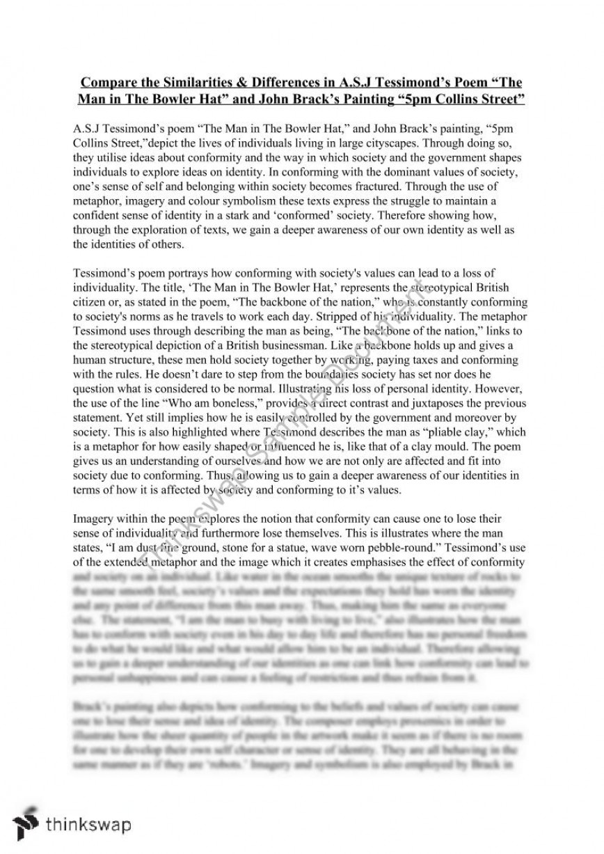 004 Painting Essay Example 105248 The Man In Bowler Hat Fadded41 Unbelievable Analysis Title English