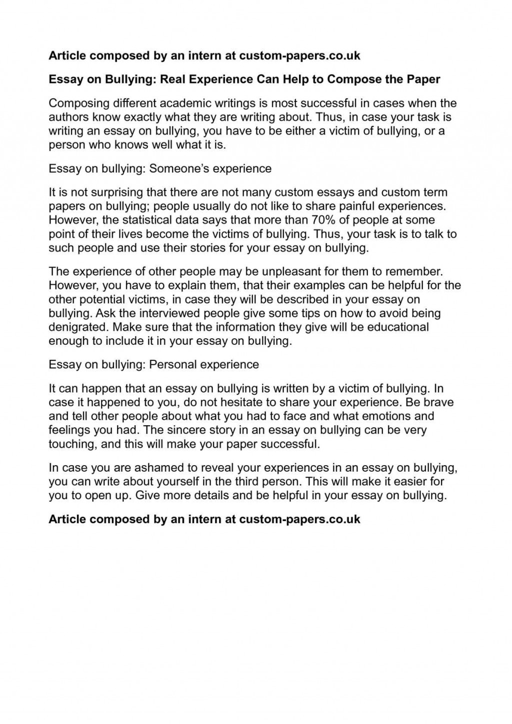 004 Personal Experience Essay P1 Fearsome Narrative Example Writing Prompts Large
