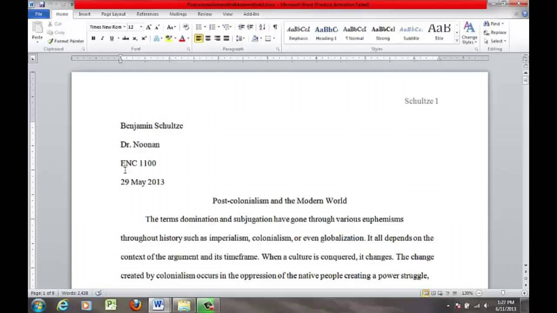 004 Proper Essay Heading Example Awesome Mla Writing 1920