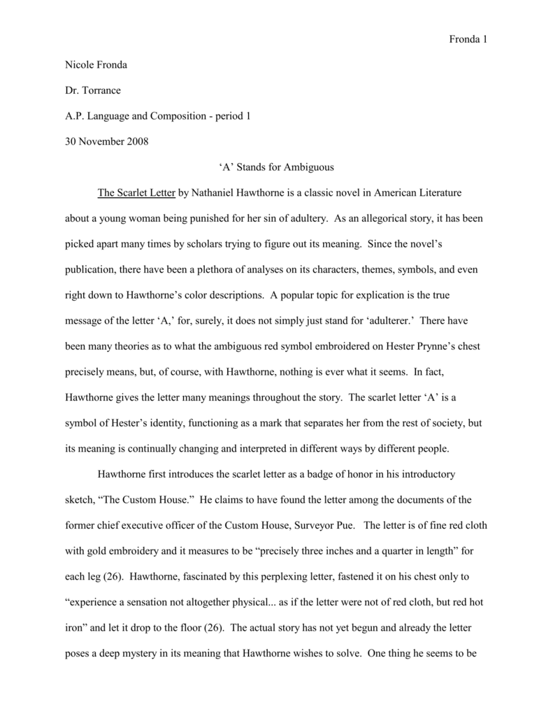 004 Scarlet Letter Essay 008001485 1 Imposing Titles On Sin Pdf Full