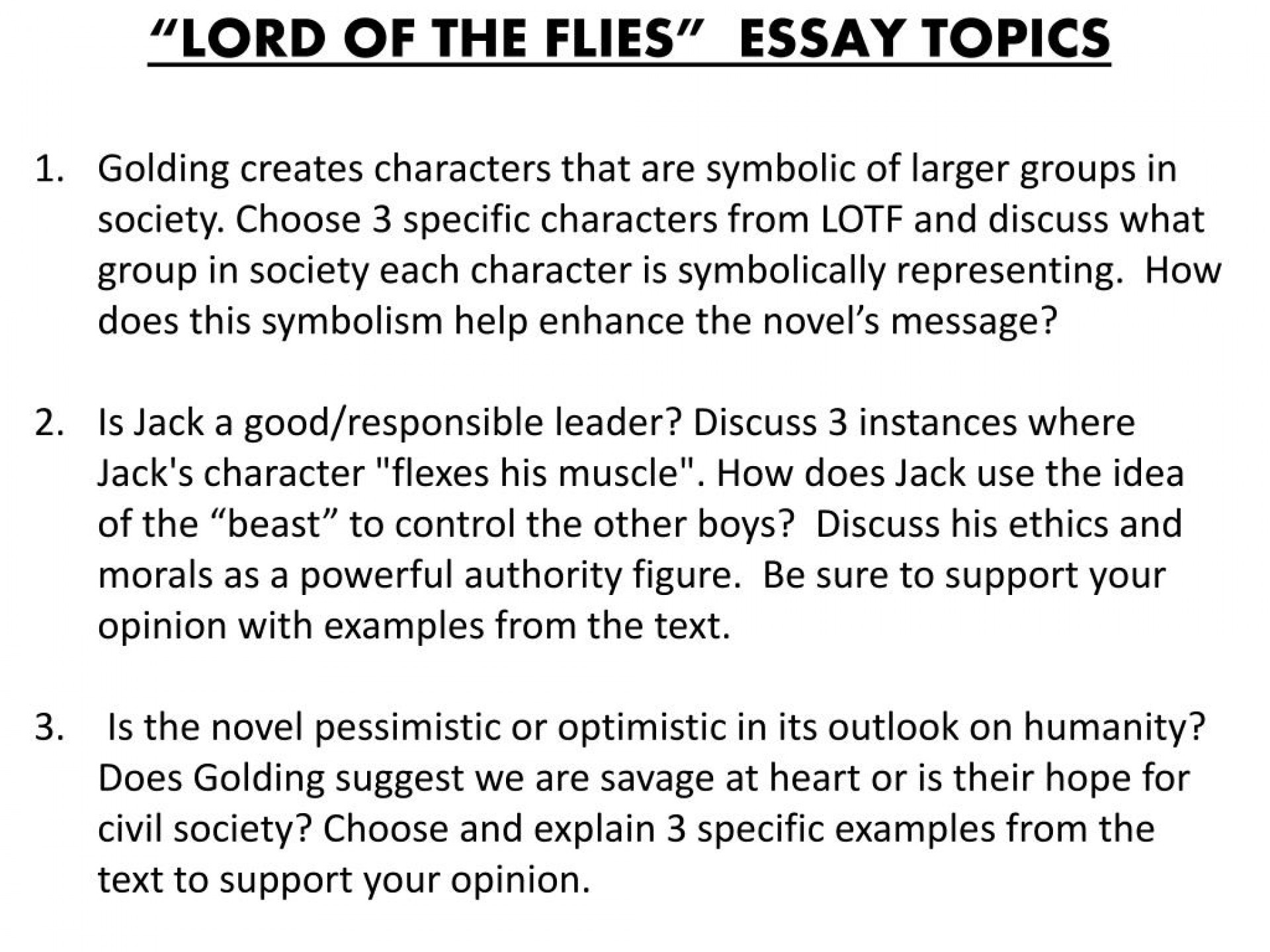 004 Slide1 L Essay Example Lord Of The Flies Unusual Symbolism Beast Introduction Prompt 1920