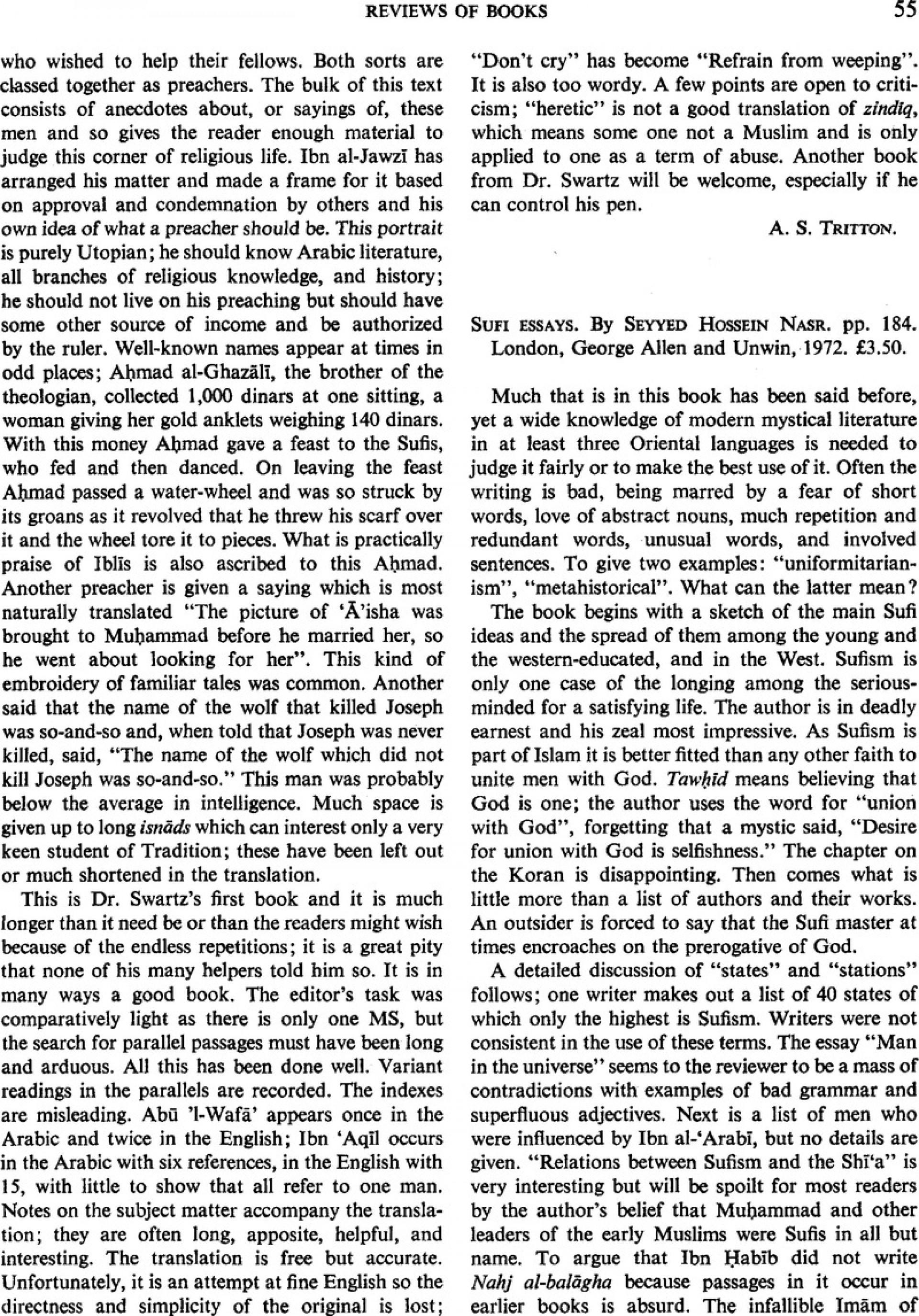 004 Sufi Essays Firstpage S0035869x00131466a Essay Singular Seyyed Hossein Nasr Pdf 1920