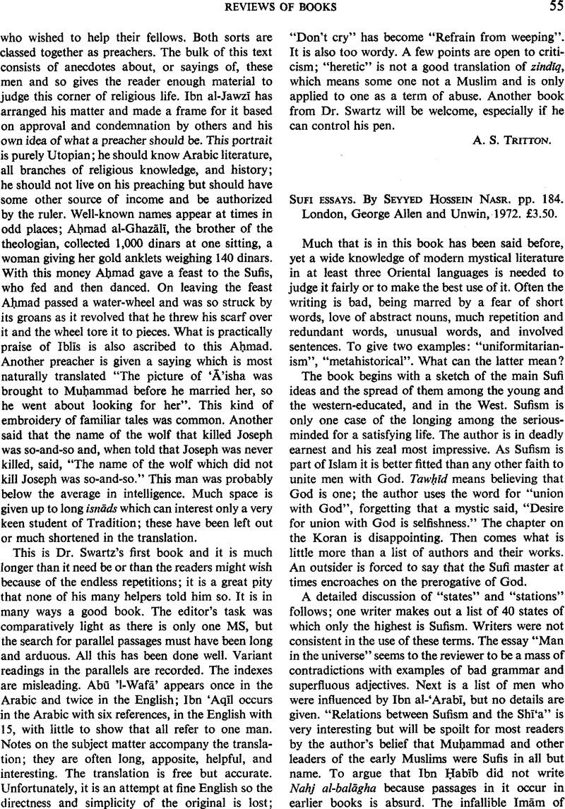 004 Sufi Essays Firstpage S0035869x00131466a Essay Singular Seyyed Hossein Nasr Pdf Full