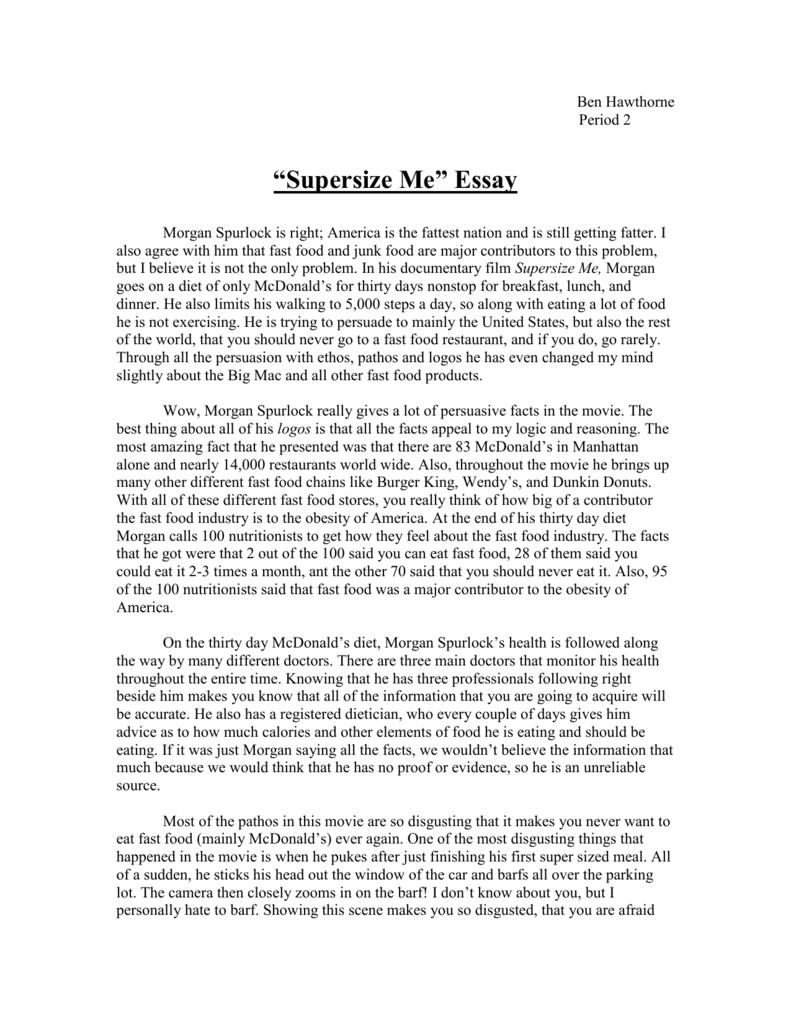 004 Supersize Me Essay Example 008016034 1 Stupendous Fathead Vs Super Size Conclusion Summary Full