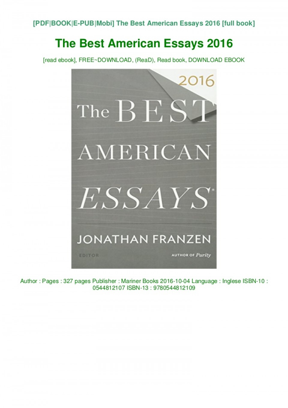 004 The Best American Essays Download Pdf Epub Audiobook Ebook Thumbnail Essay Phenomenal 2016 Sparknotes 960