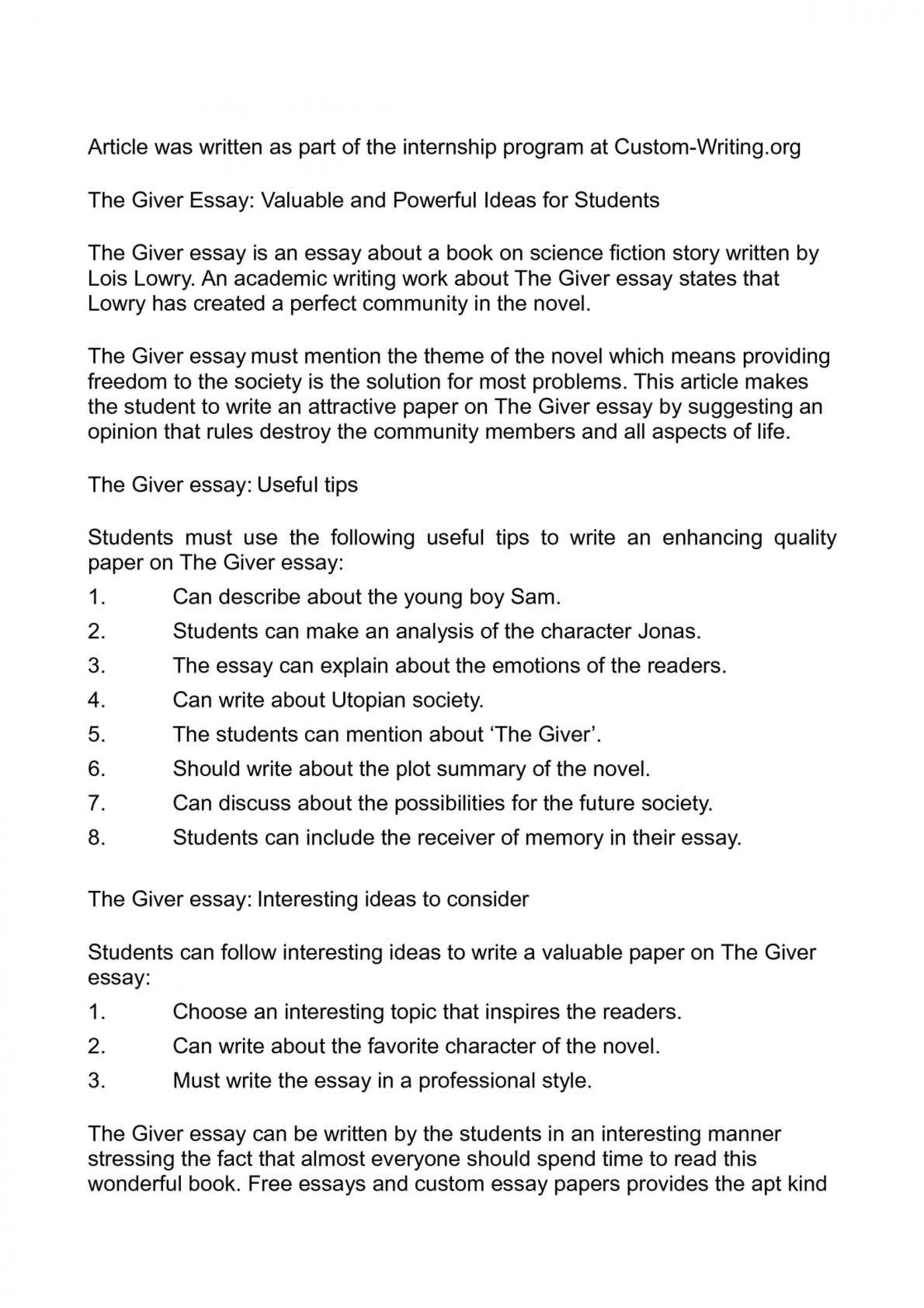 004 The Giver Essay P1 Fearsome Topics Ideas Questions 1920