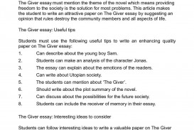 the giver essay example compareandcontrastessay page   thatsnotus