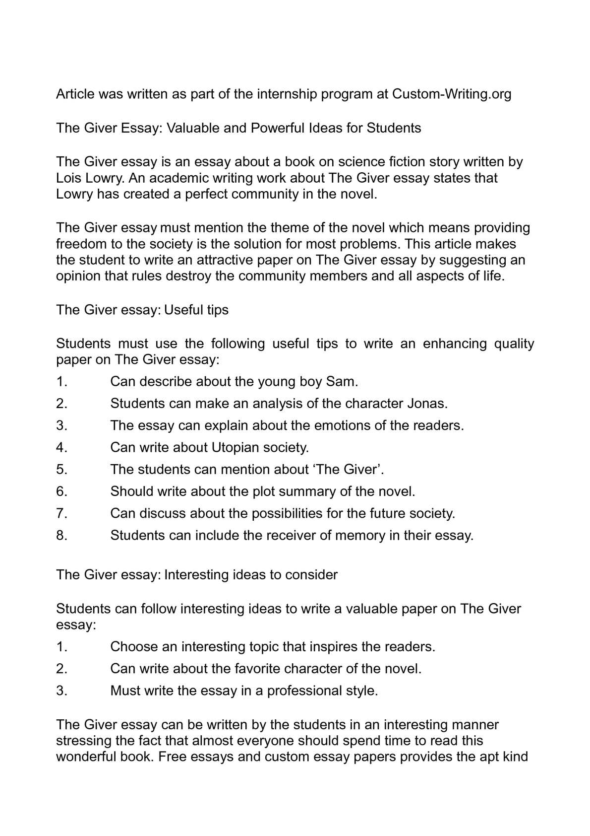 004 The Giver Essay P1 Fearsome Topics Ideas Questions Full