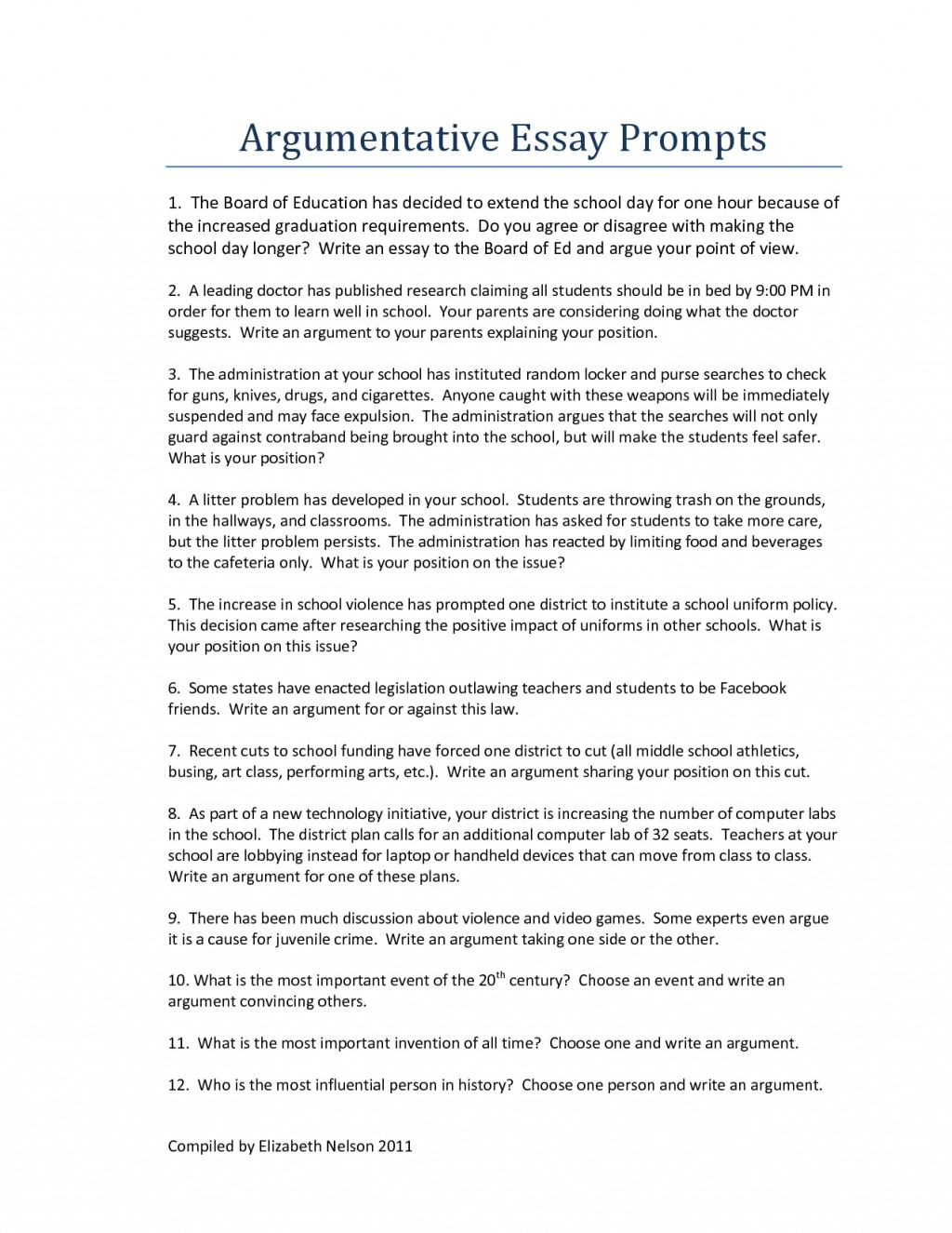 004 Topics For Argumentative Essays Essay Example Middle School Writings And Good Persuasive High Argument Speech About Uniform Education Uniforms Rules Incredible Grade 7 College Students Easy Sample Large