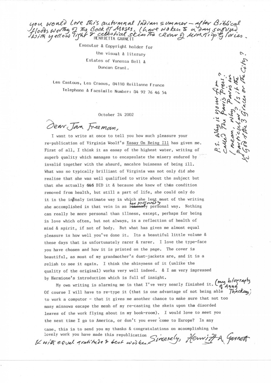 004 Type An Essay Online For Free Henrietta20garnett20letter20to20paris20press Stirring Where Can I 1920