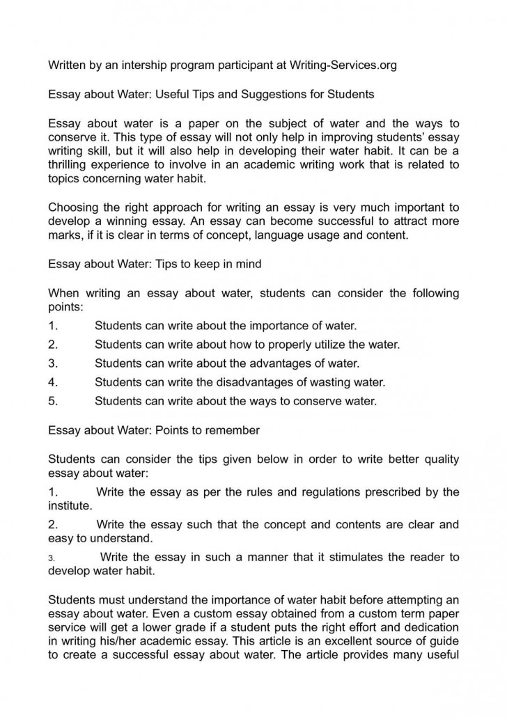 Water conservation essays
