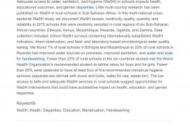 004 Water Sanitation And Hygiene In Schools Status Implications Of Low Coverage Ethiopia Kenya Mozambique Rwanda Uganda Zambia Sciencedirect Essay Example Racism Dreaded Today 320