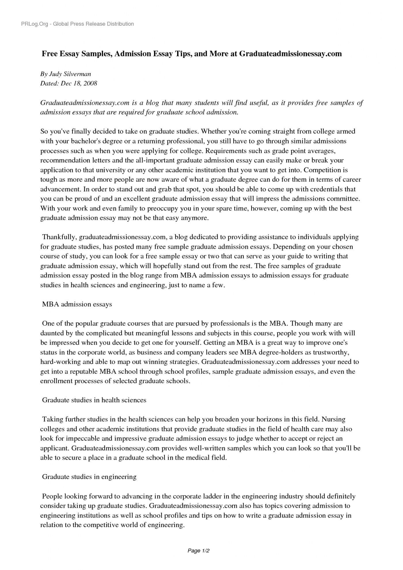 Essay for graduate school nursing
