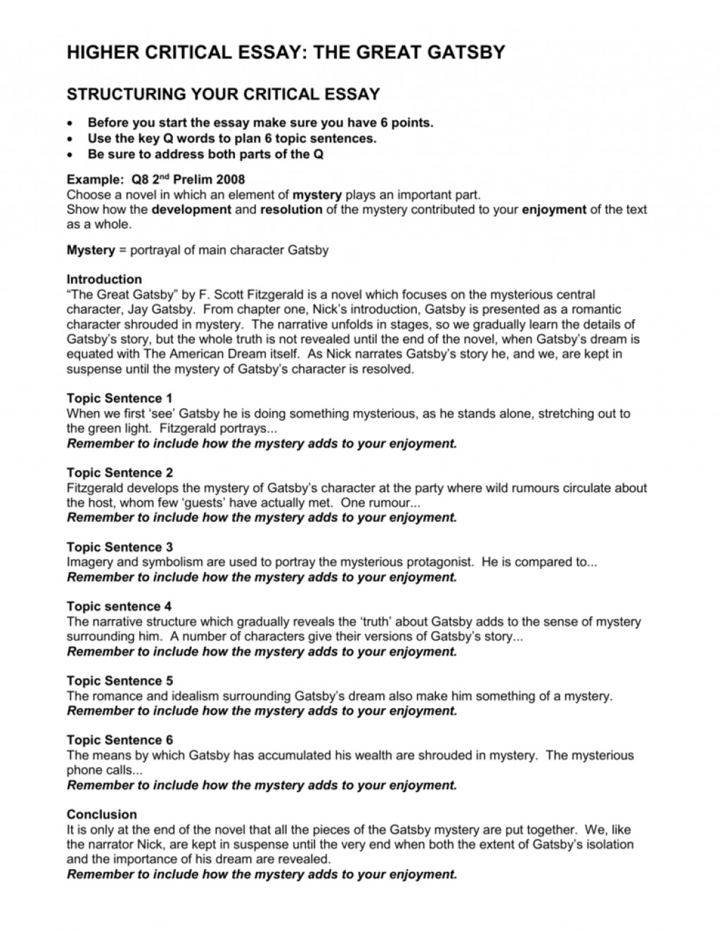 005 008039515 1 Gatsby Essay Fascinating Higher English Great Plans Thesis Conclusion Large