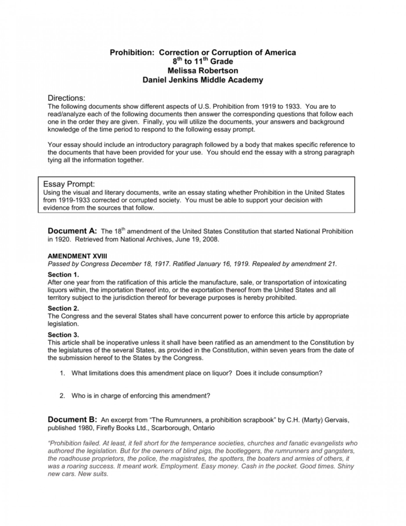 prohibition essay history writing on of dowry essays in the      prohibition essay awful topics outline conclusion
