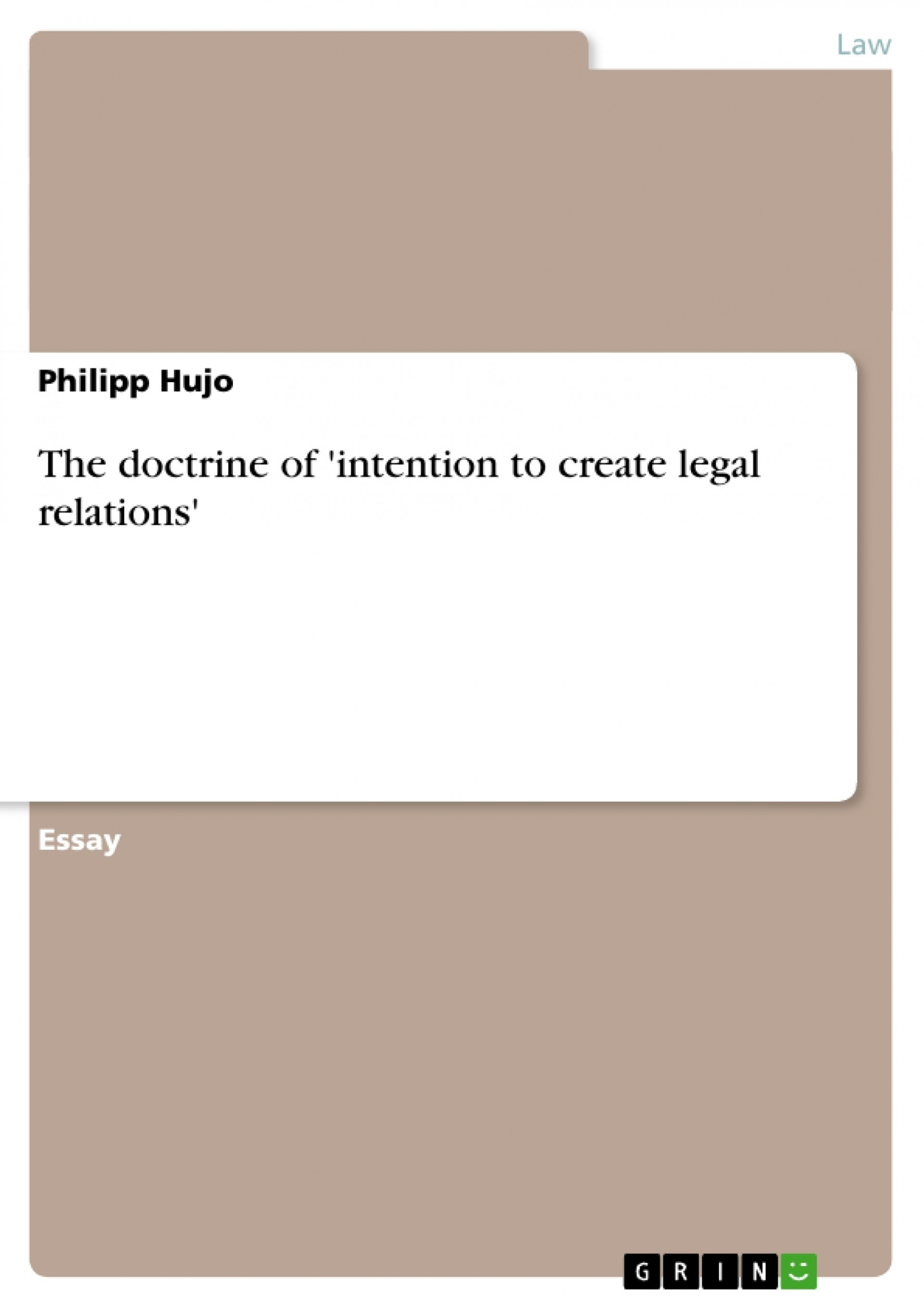 005 109929 0 Essay Example Intention To Create Legal Unbelievable Relations 1920