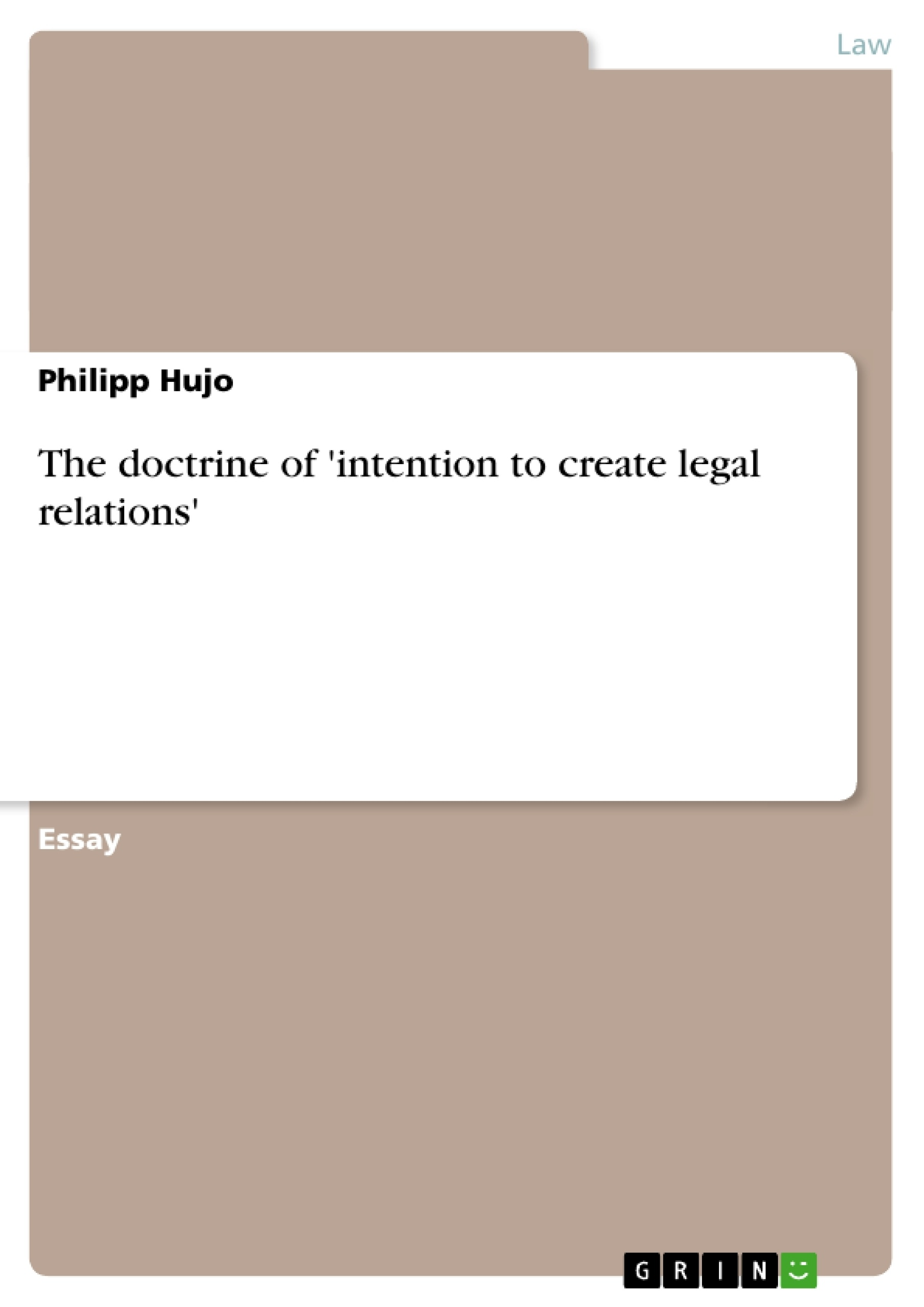 005 109929 0 Essay Example Intention To Create Legal Unbelievable Relations Full